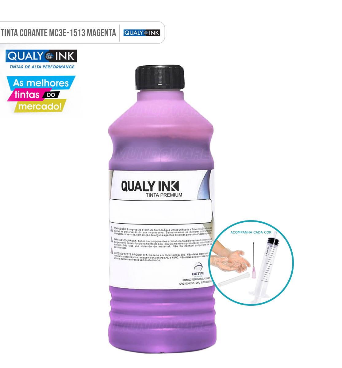 Refil de Tinta Qualy-Ink Magenta Corante para Epson série 664 impressoras L100 L110 L120 L200 L210 L220 L300 L355 L365 L375 L380 L395 L396 L455 L475 L495 L550 L555 L565 L575 L606