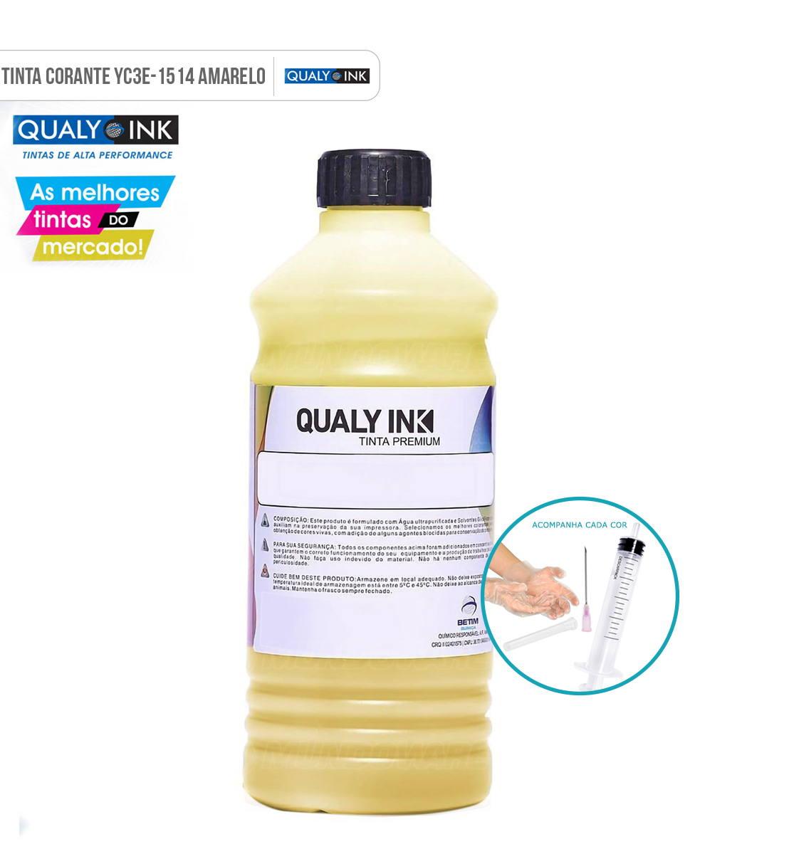Refil de Tinta Qualy-Ink Yellow Corante para Epson série 664 impressoras L100 L110 L120 L200 L210 L220 L300 L355 L365 L375 L380 L395 L396 L455 L475 L495 L550 L555 L565 L575 L606