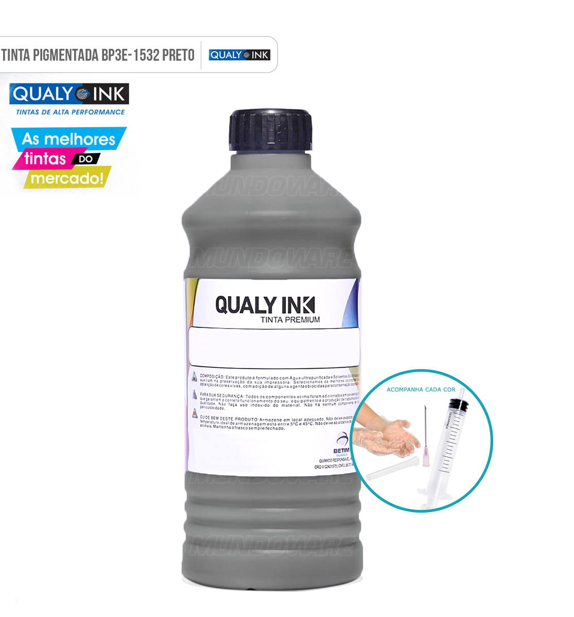 Refil de Tinta Qualy-Ink Preta Pigmentada para Epson série 544 504 impressoras L3108 L3110 L3111 L3118 L3119 L3150 L3158 L4150 L4158 L4160 L4168 L5190 L6160 L6161 L6168 L6170 L6171 L6178 L6190 L6191 L6198