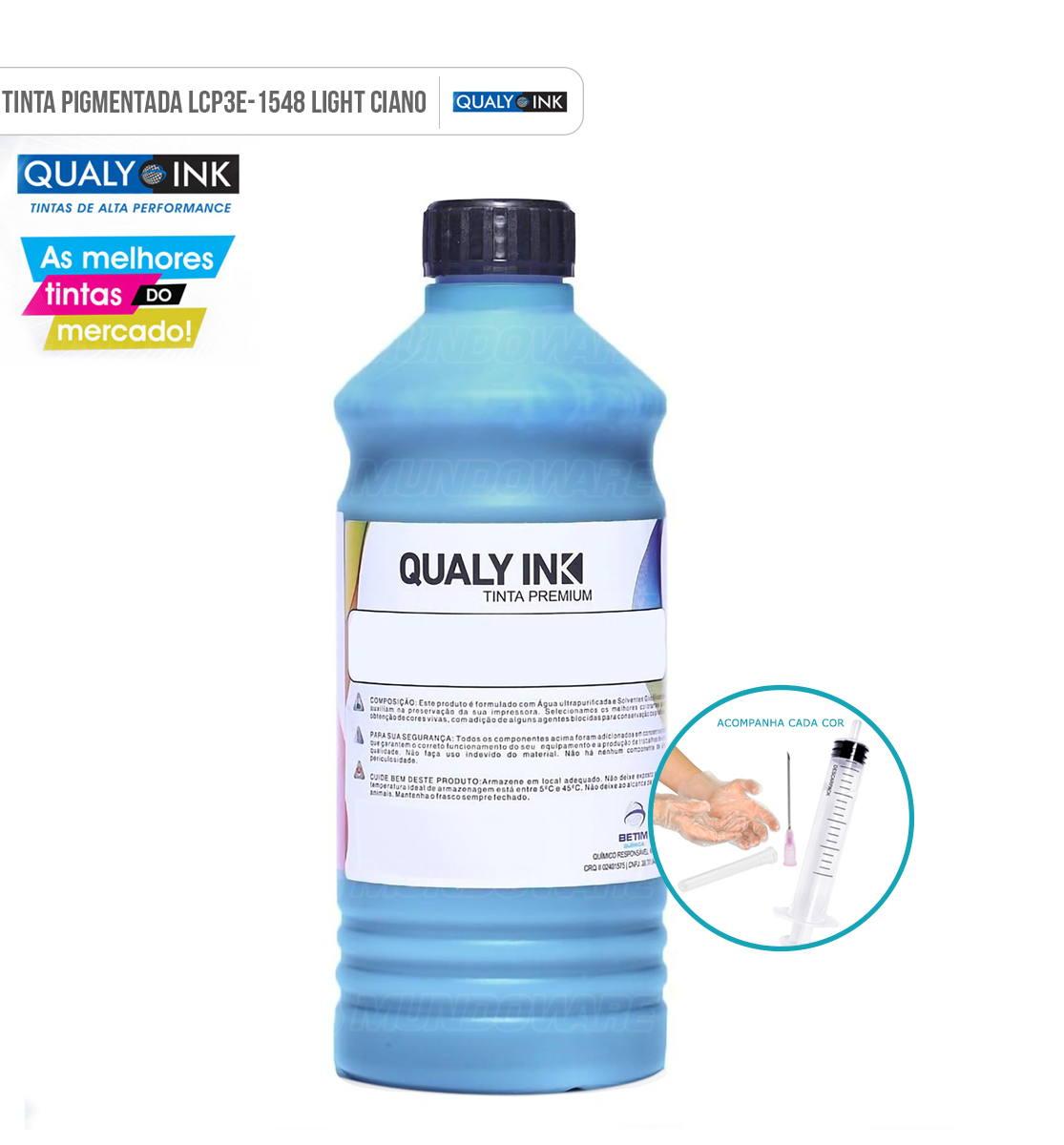 Refil de Tinta Qualy-Ink para Epson EcoTank L800 L805 L810 L850 L1800 Ciano Light Pigmentado