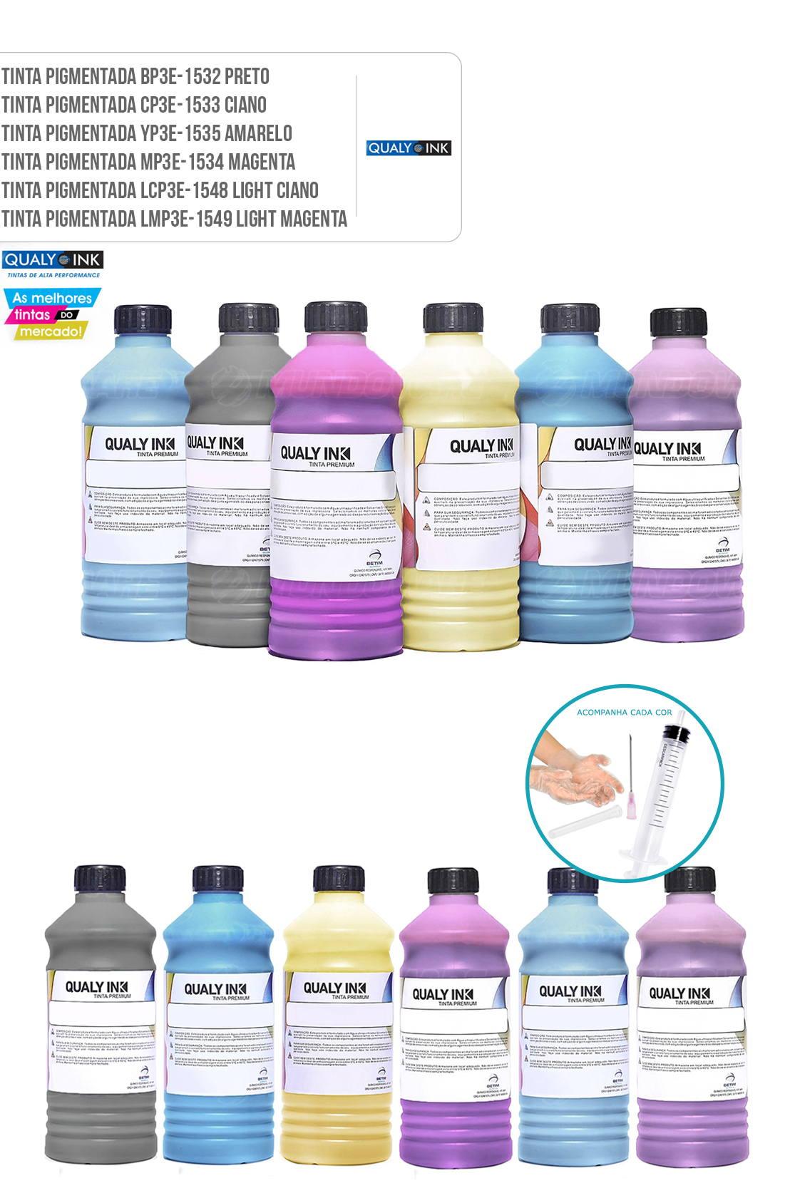 Kit 6 Cores de Tinta Qualy-Ink para Epson EcoTank L800 L805 L810 L850 L1800 6 Litros