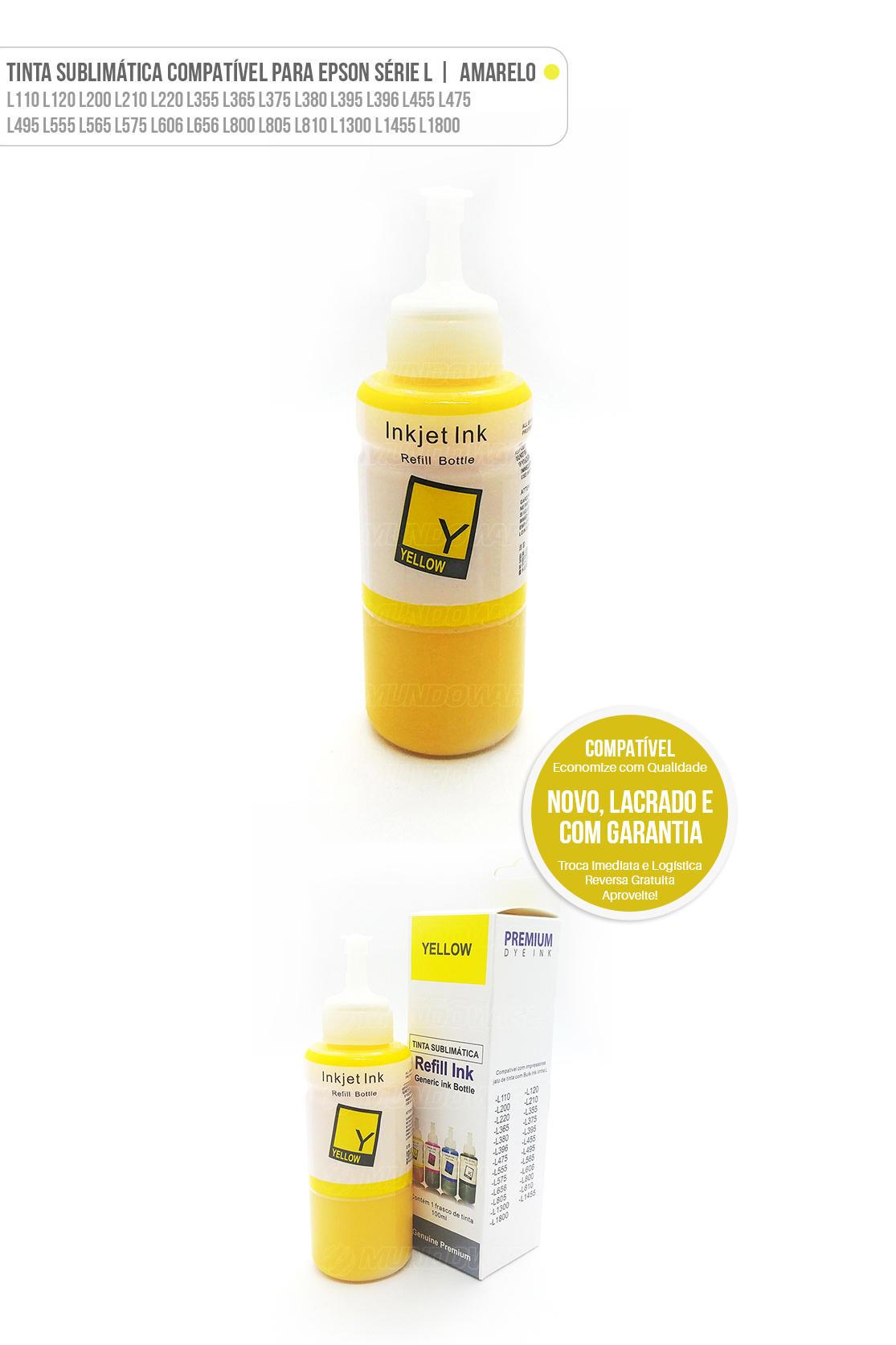 Refil de Tinta Sublimática Amarela Compatível para Epson Ecotank série L L200 L210 L220 L355 L365 L375 L555 L575 L800 L805 L1300