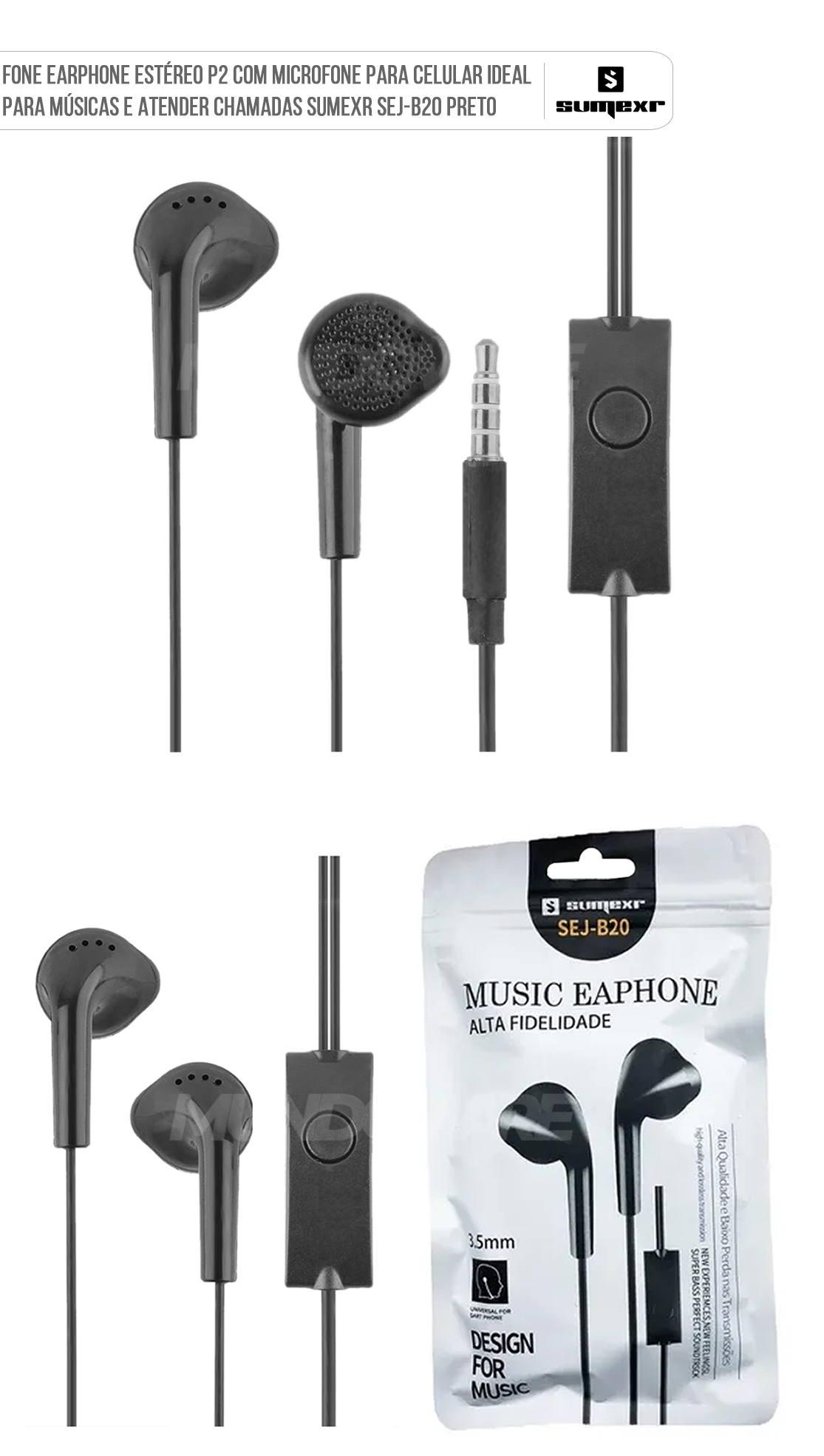Fone Earphone Estéreo P2 para Celular com Microfone para Atender Chamadas Sumexr SEJ-B20 Preto