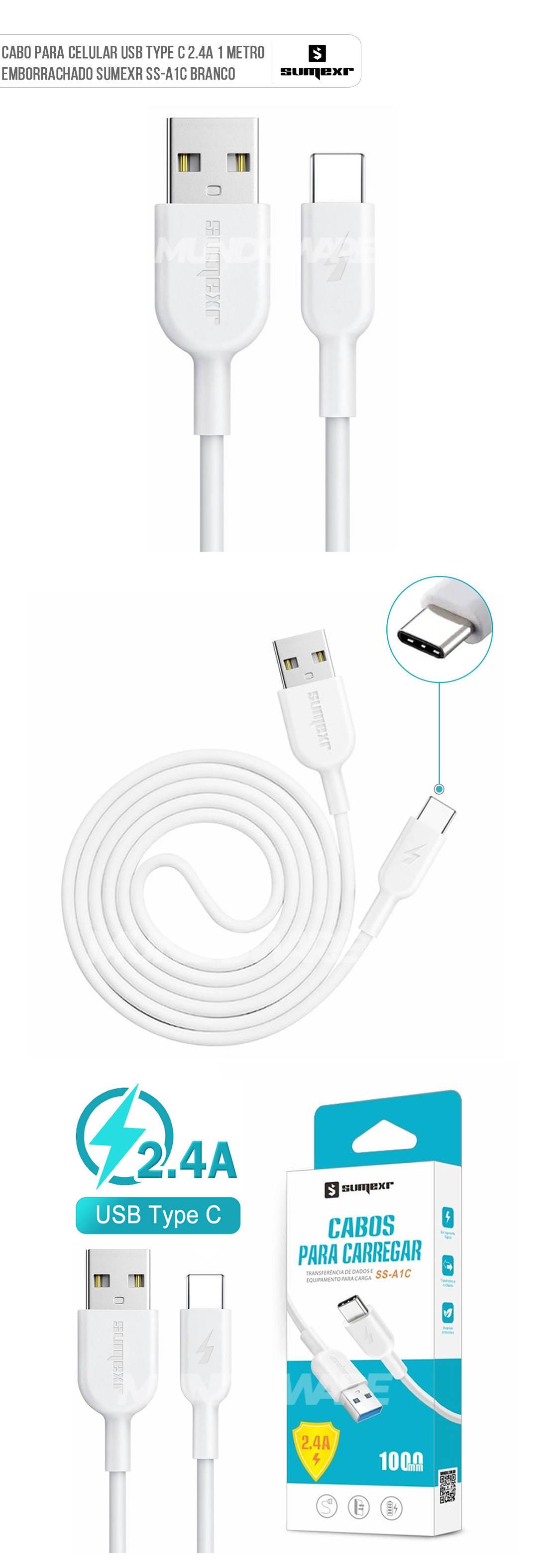 Cabo para Celular USB Type-C 2.4A 1 Metro Emborrachado e Resistente Sumexr SS-A1C Branco