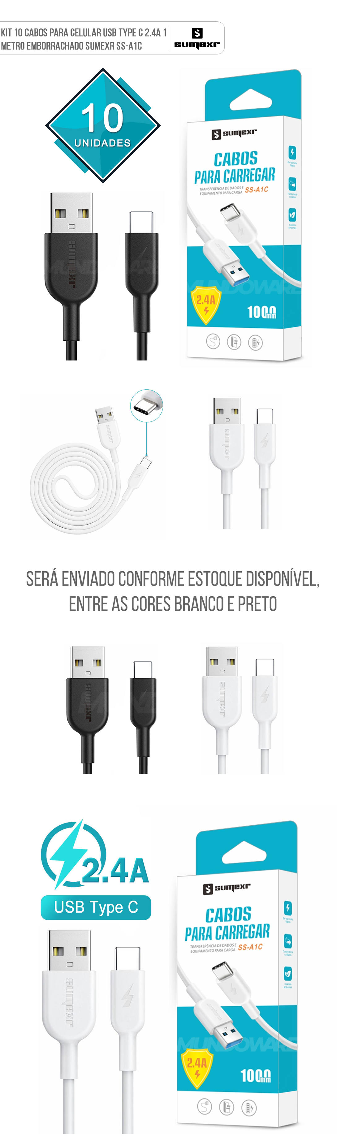 Kit com 10 Cabos USB Type-C 2.4A 1 Metro Emborrachado e Resistente Sumexr SS-A1C