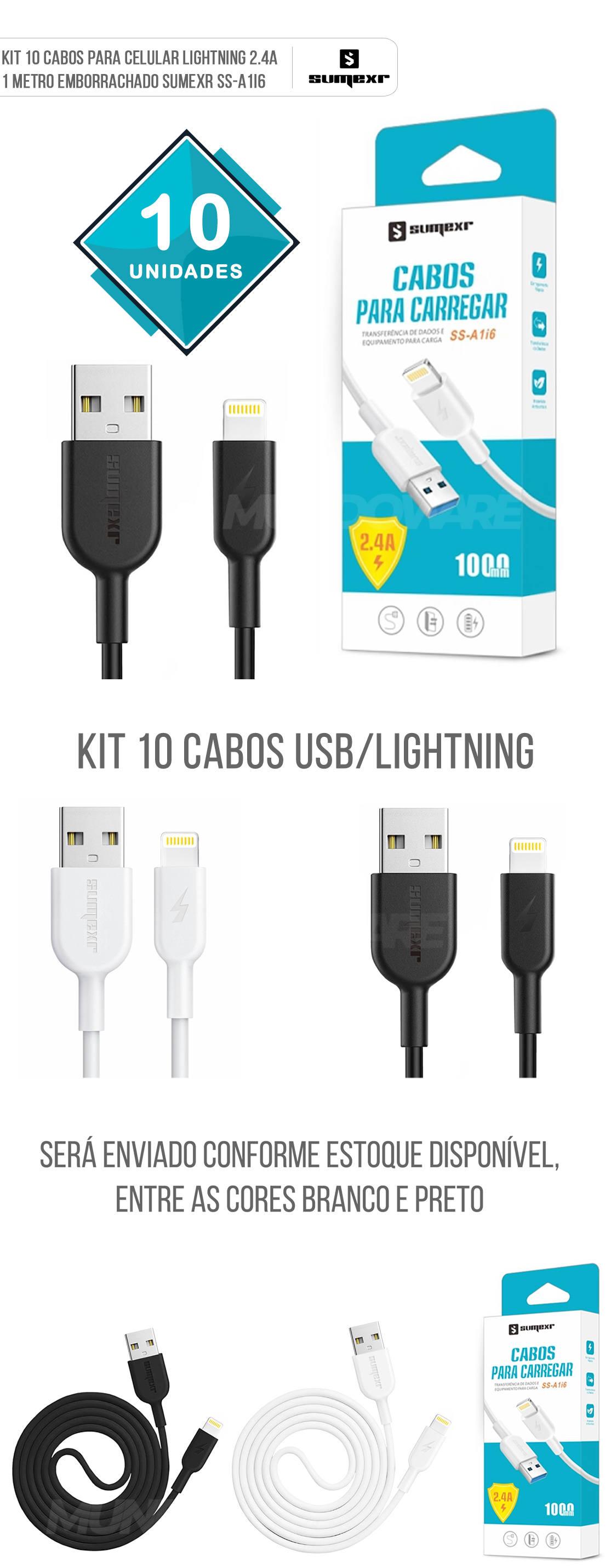 Kit 10x Cabo para iPhone Lightning 2.4A 1 Metro Emborrachado Sumexr SS-A1I6