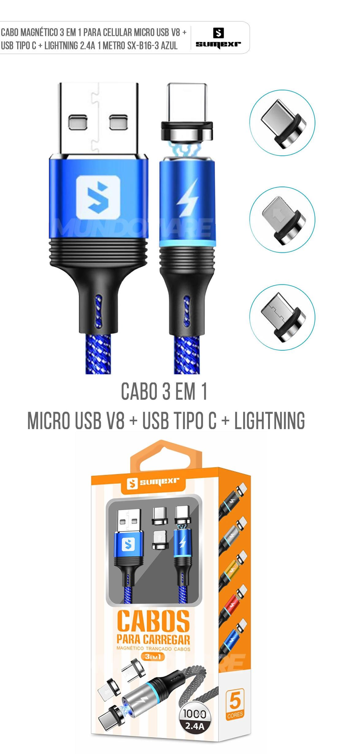 Cabo Magnético 3 em 1 para Celular Micro USB V8 + USB Tipo C + Lightning 2.4A 1 metro SX-B16-3 Azul