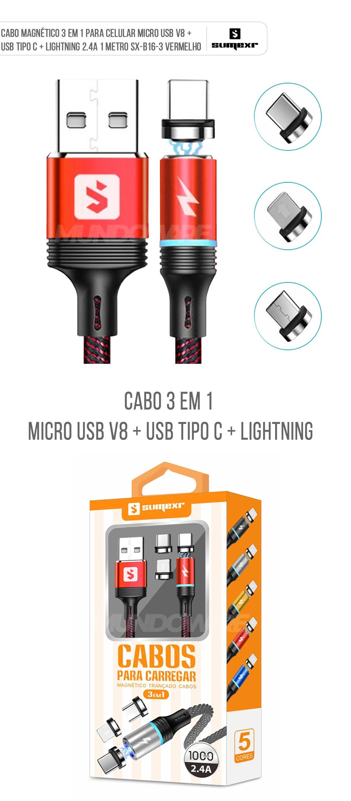 Cabo Magnético 3 em 1 para Celular Micro USB V8 + USB Tipo C + Lightning 2.4A 1 metro SX-B16-3 Vermelho