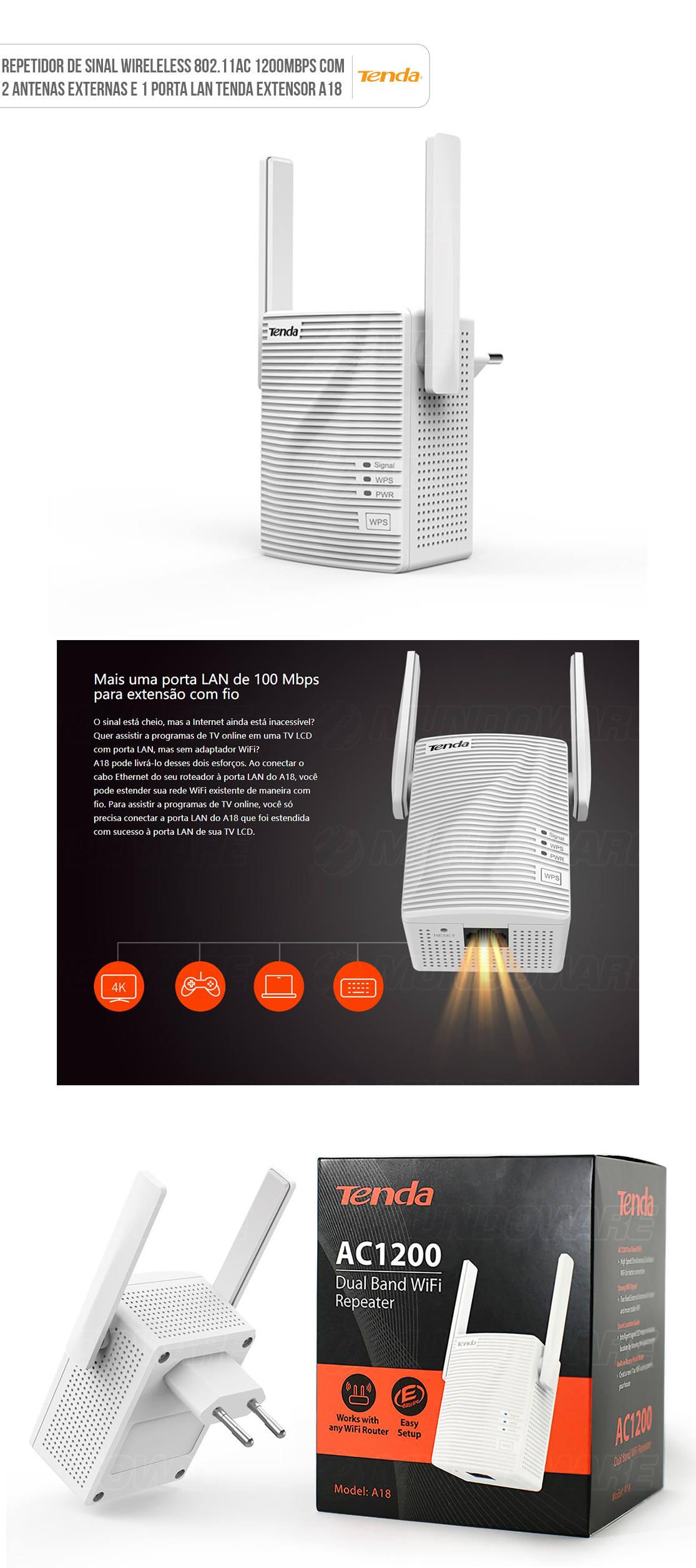 Repetidor de Sinal Wireless 802.11AC 1200Mbps Dual Band com 2 Antenas Externas e 1 Porta LAN Tenda Extensor A18