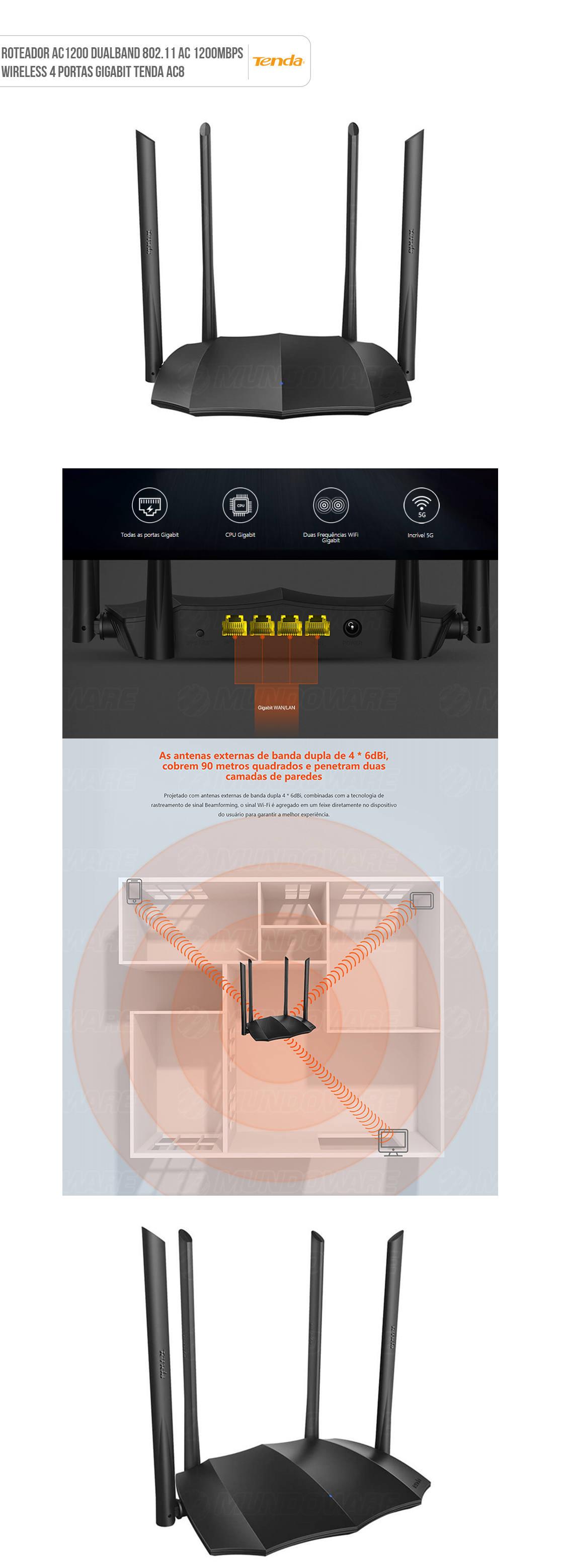 Roteador Sem Fio 1200Mbps Dual-band Gigabit Wireless AC1200 802.11AC 4 Portas Gigabit Tenda WIFI AC8