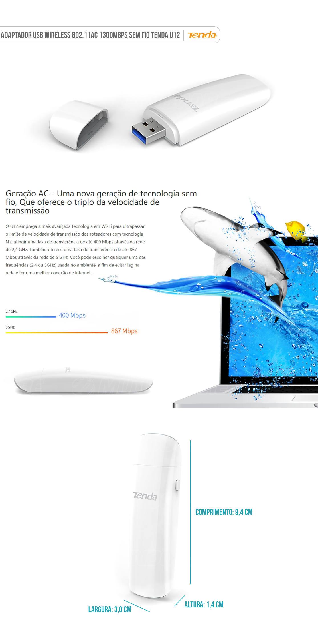 Adaptador USB Wireless 1300Mbps 802.11AC Sem Fio Tenda U12