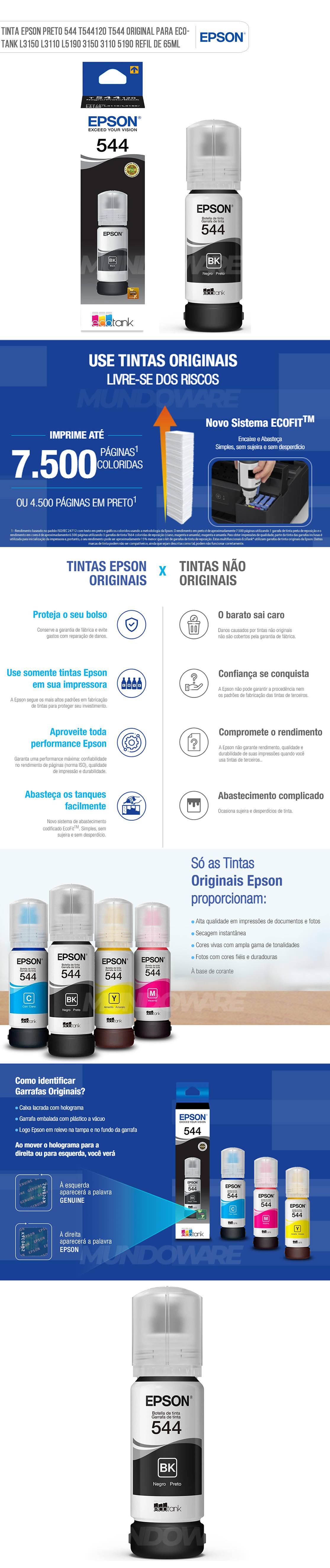 Tinta Epson Preto 544 T544120 T544 Original para Ecotank L3150 L3110 L5190 3150 3110 5190 Refil de 65ml