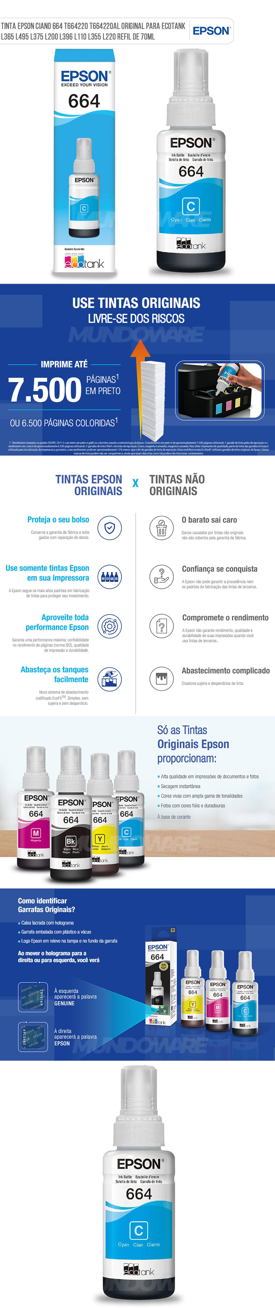 Tinta Epson Ciano 664 T664220 T664220AL Original para Ecotank L365 L495 L375 L200 L396 L110 L355 L220 Refil de 70ml