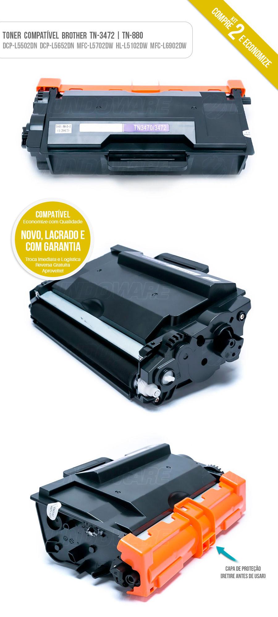 Kit 2x Tonner Compativel Brother para HL-L5102DW DCP-L5502DN MFC-L6902DW MFC-L5702DW DCP-L5652DN L5202DW L6202DW L6402DW L5602DN L5802DW L5902DW L6702DW2