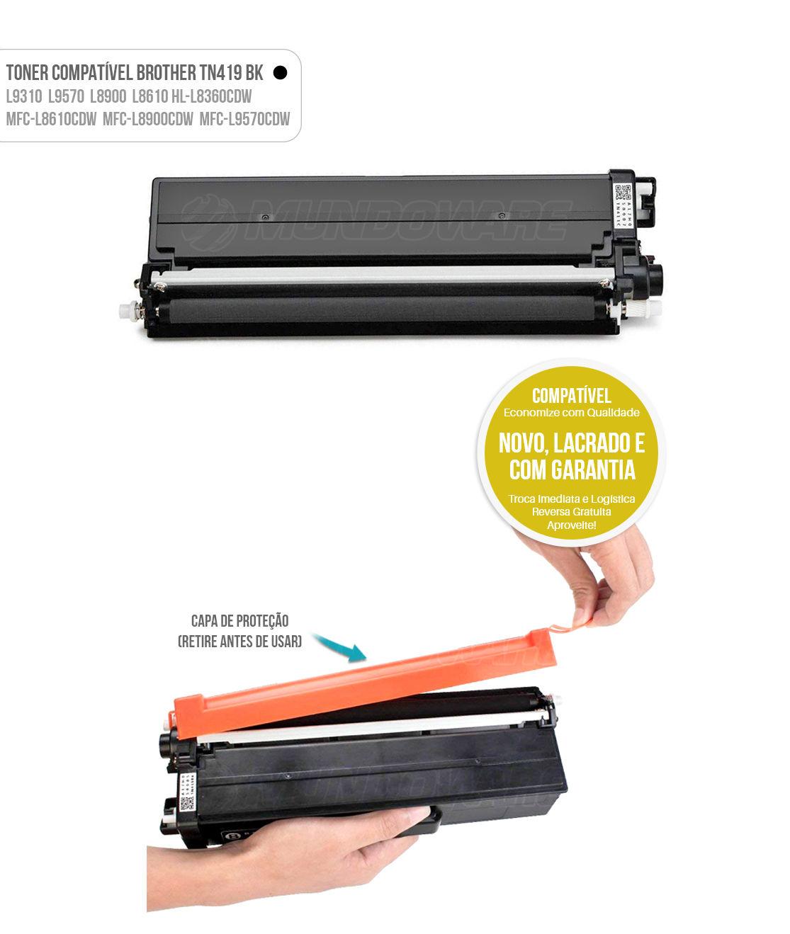 Toner Preto Compatível com TN419 TN-419K para impressora Brother HL-L8360CDW MFC-L8610CDW L8900CDW L9570CDW L8360 L8610 L8900