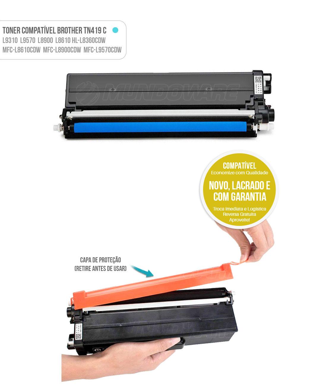 Toner Ciano Compatível com TN419 TN-419C para impressora Brother HL-L8360CDW MFC-L8610CDW L8900CDW L9570CDW L8360 L8610 L8900