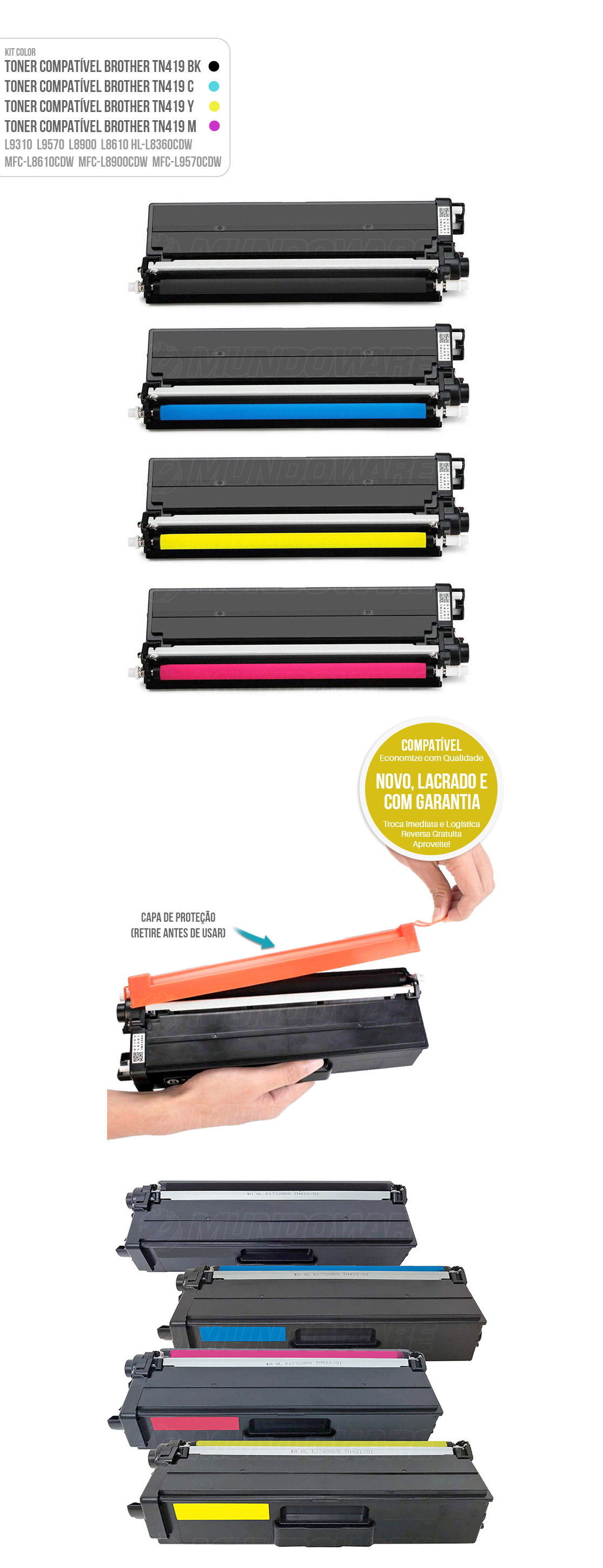 Kit 4 Cores de Toner Compatível com TN419 para impressora Brother HL-L8360CDW MFC-L8610CDW L8900CDW L9570CDW L8360 L8610 L8900