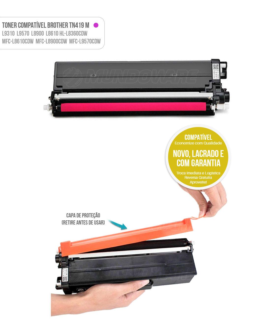 Toner Magenta Compatível com TN419 TN-419M para impressora Brother HL-L8360CDW MFC-L8610CDW L8900CDW L9570CDW L8360 L8610 L8900