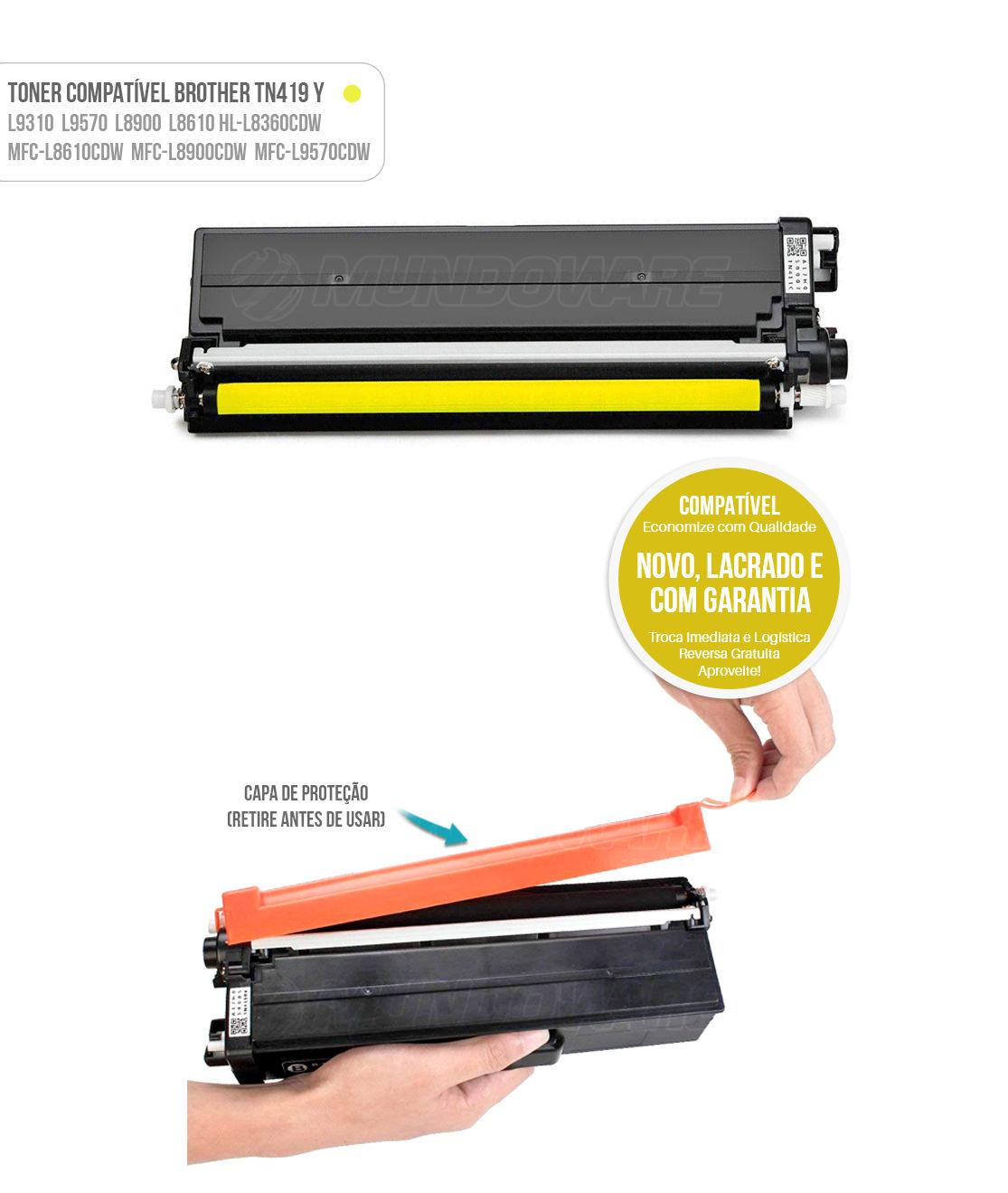 Toner Yellow Compatível com TN419 TN-419Y para impressora Brother HL-L8360CDW MFC-L8610CDW L8900CDW L9570CDW L8360 L8610 L8900