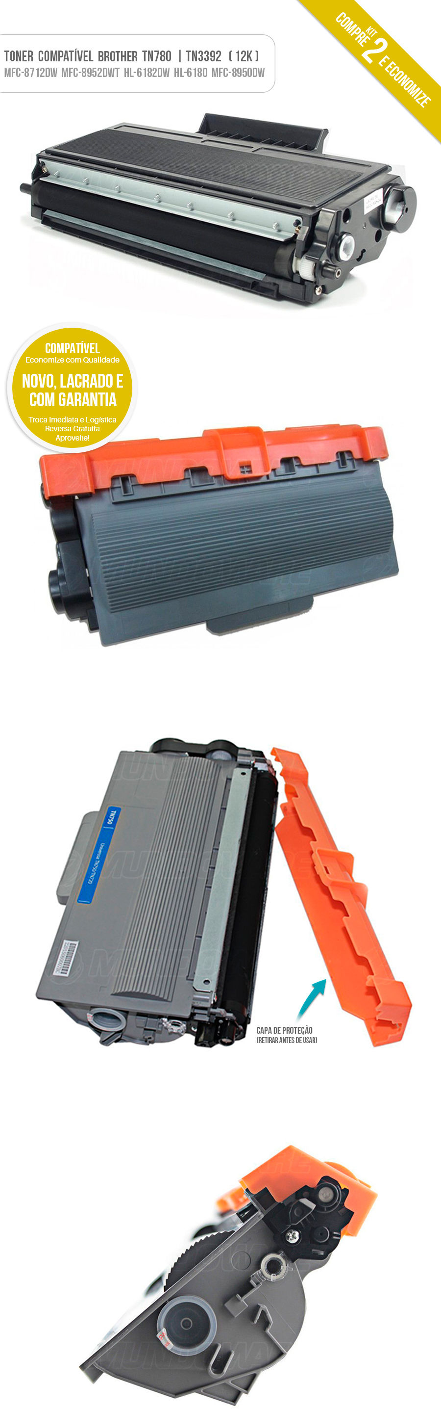 Kit 2x Tonner para impressora Brother TN-780 TN780 TN3392 TN-3392 HL-6182DW HL-6180DW DCP-8157DN MFC-8952DW