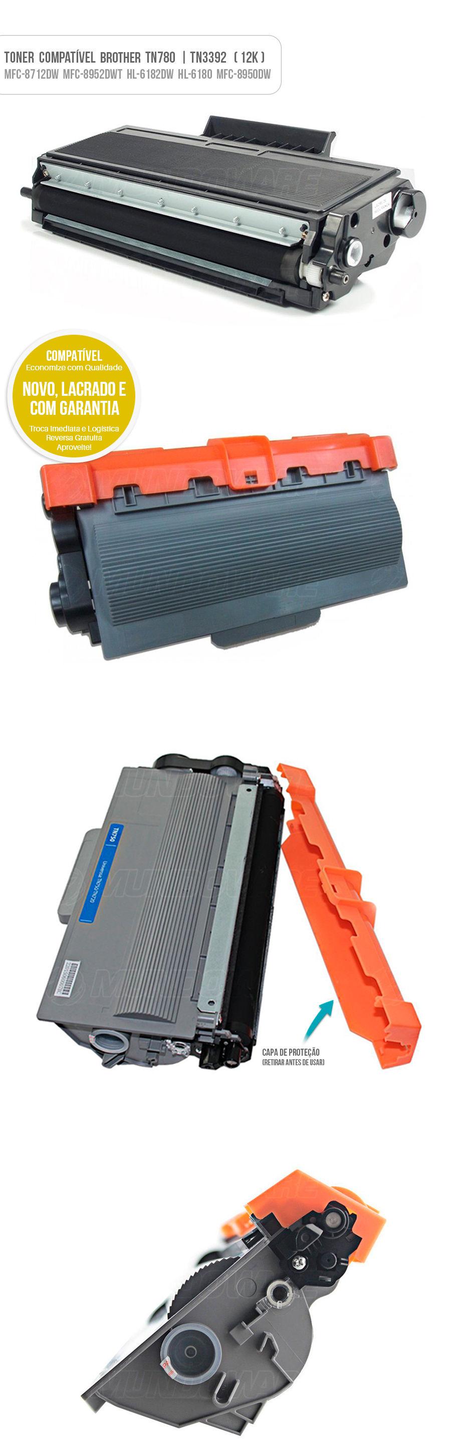 Tonner para impressora Brother TN-780 TN780 TN3392 TN-3392 HL-6182DW HL-6180DW DCP-8157DN MFC-8952DW