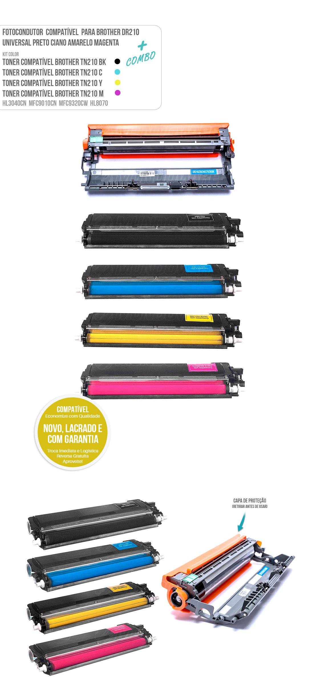 Kit colorido TN-210 TN210 Tonner e Fotocondutor para impressoras HL-3040CN HL-3070CW MFC-9120CN MFC-9320CW MFC-9325CW HL3040 HL3070 MFC9120 MFC9320 MFC9325