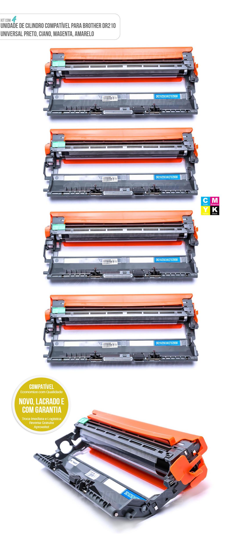 4 Cartuchos de Cilindro Compatível com DR210 para Toner Colorido TN210 impressora HL3040CN HL3070CW MFC9120CN MFC9320CW MFC9325CW HL3040 HL3070 MFC9120 MFC9320 MFC9325