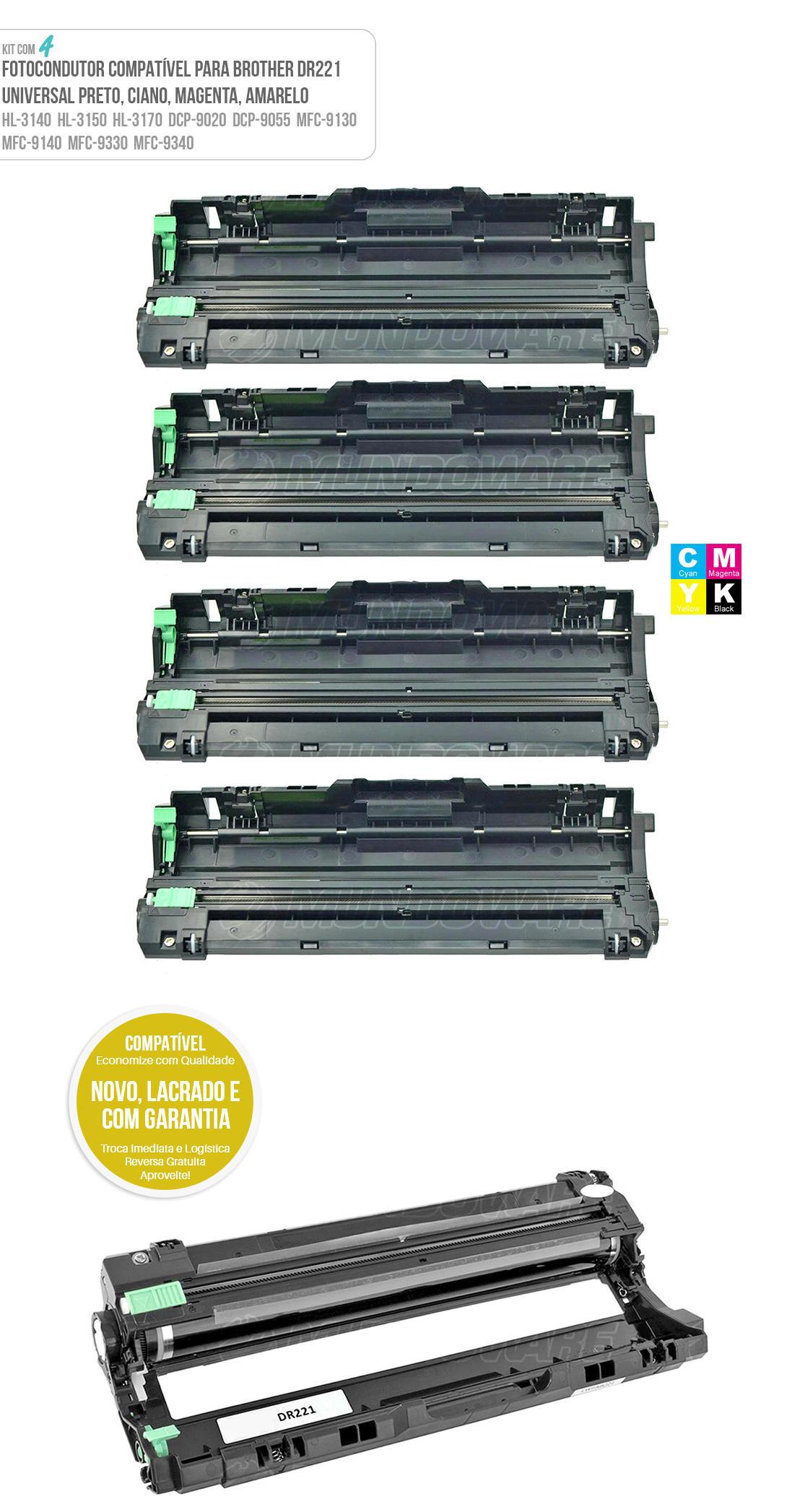 4 peças de Cartuchos de Cilindro Compatível com DR221 para Toner Colorido TN221 TN225 para impressora MFC-9130CW MFC-9330CDW MFC-9340CDW HL-3140CW HL-3150CDN HL-3170CDW