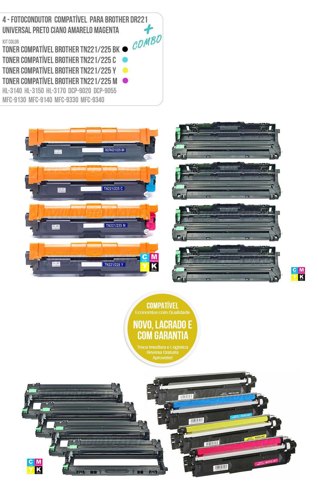 Kit colorido Brother cmybk tn221 tn225 tonner tn225 tn-225 + 4 peças Fotocondutores DR221 para impressora HL3140 HL3150 HL3170 DCP9020 DCP9055