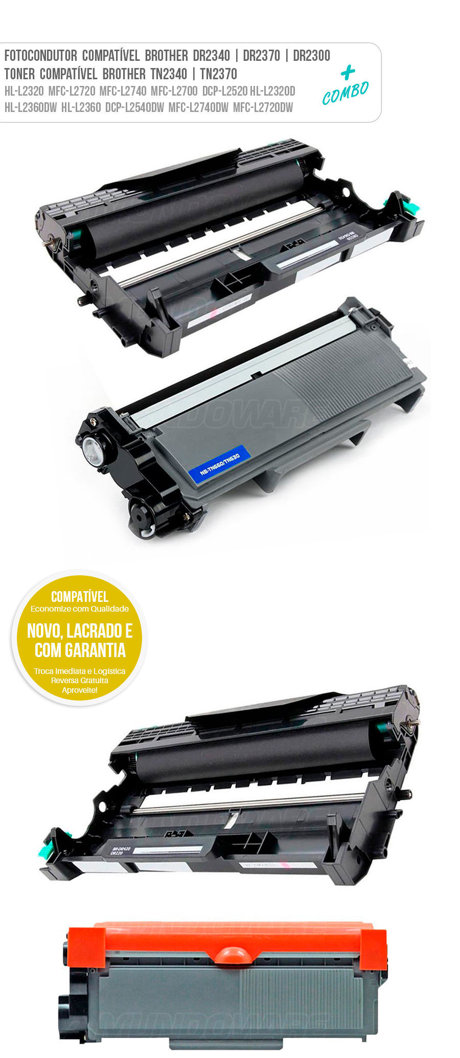 Drum Fotocondutor Tambor de Imagem Unidade Cilindro Kit DR Toner Tonner Cartucho DR2340 DR2370 DR2300 TN2370 TN2340