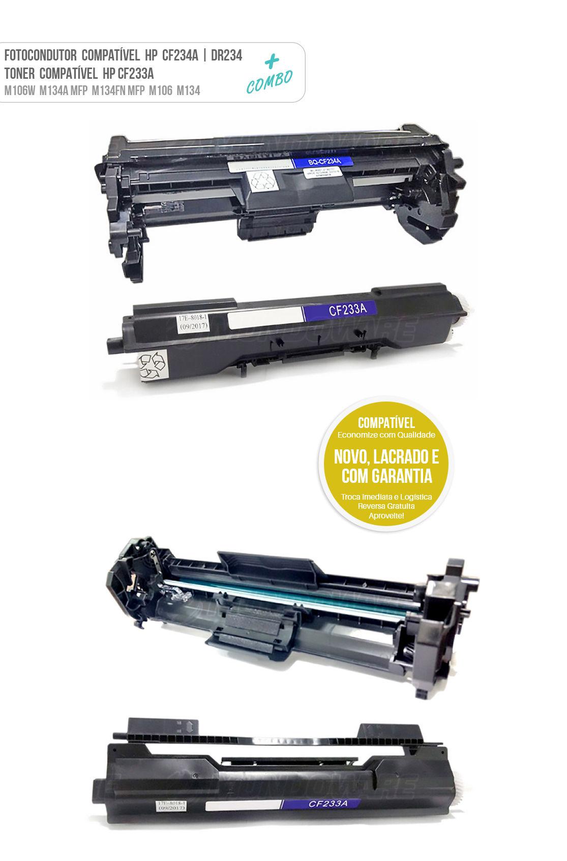 Cartucho de Cilindro Fotocondutor Compatível CF234 DR234A e Toner CF233A para impressora HP M106W M134A MFP M134FN MFP M106 M134