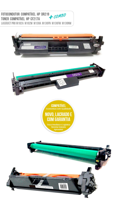 Fotocondutor, Tambor de Imagem, Cartucho de Cilindro DR219 CF219 + Toner CF217A 217A para Impressora HP Laserjet Pro M102 M102A M102W M130 M130A M130FN M130FW M130NW