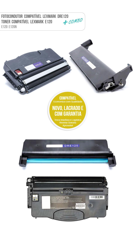 Fotocondutor, Tambor de Imagem, Cartucho de Cilindro DR-e120 12026XW + Toner E12018SL para Impressora Lexmark E120 E120N