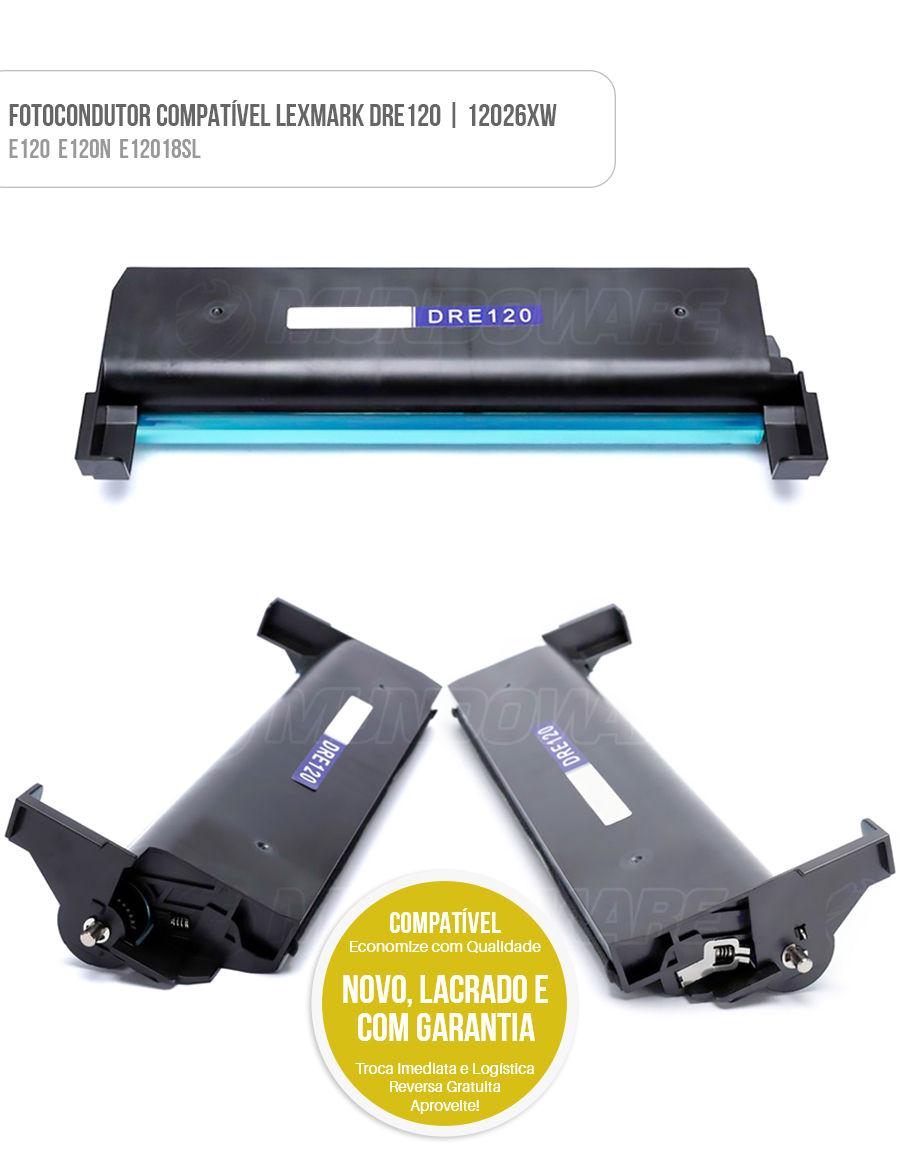 Cartucho de Cilindro, Tambor de Imagem, Unidade de Cilindro DRE120 12026XW para impressora Lexmark E120 E120N