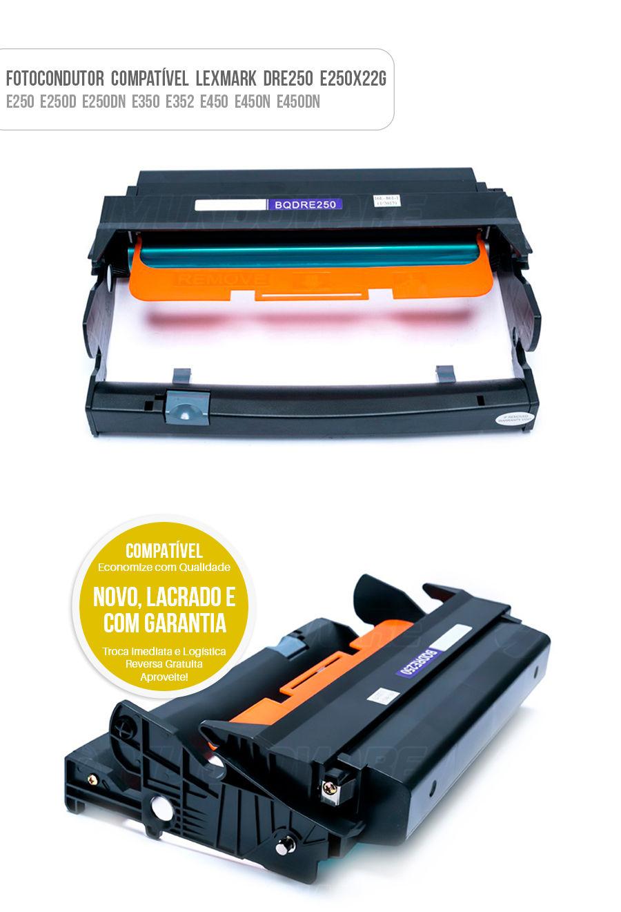 Fotocondutor para Lexmark E250 E250D E250DN E350 E352 E450 E450N E450DN