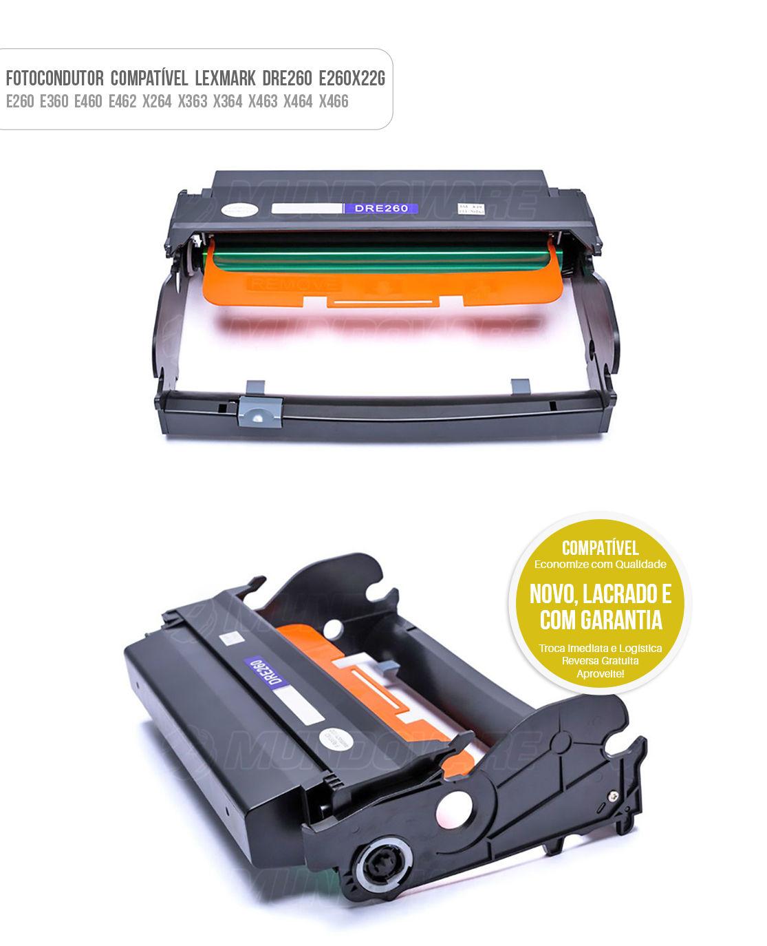 Fotocondutor para Lexmark E260 E260D E360 E360D E460 E460D E462 E260DN E360DN E460DW X263 X264