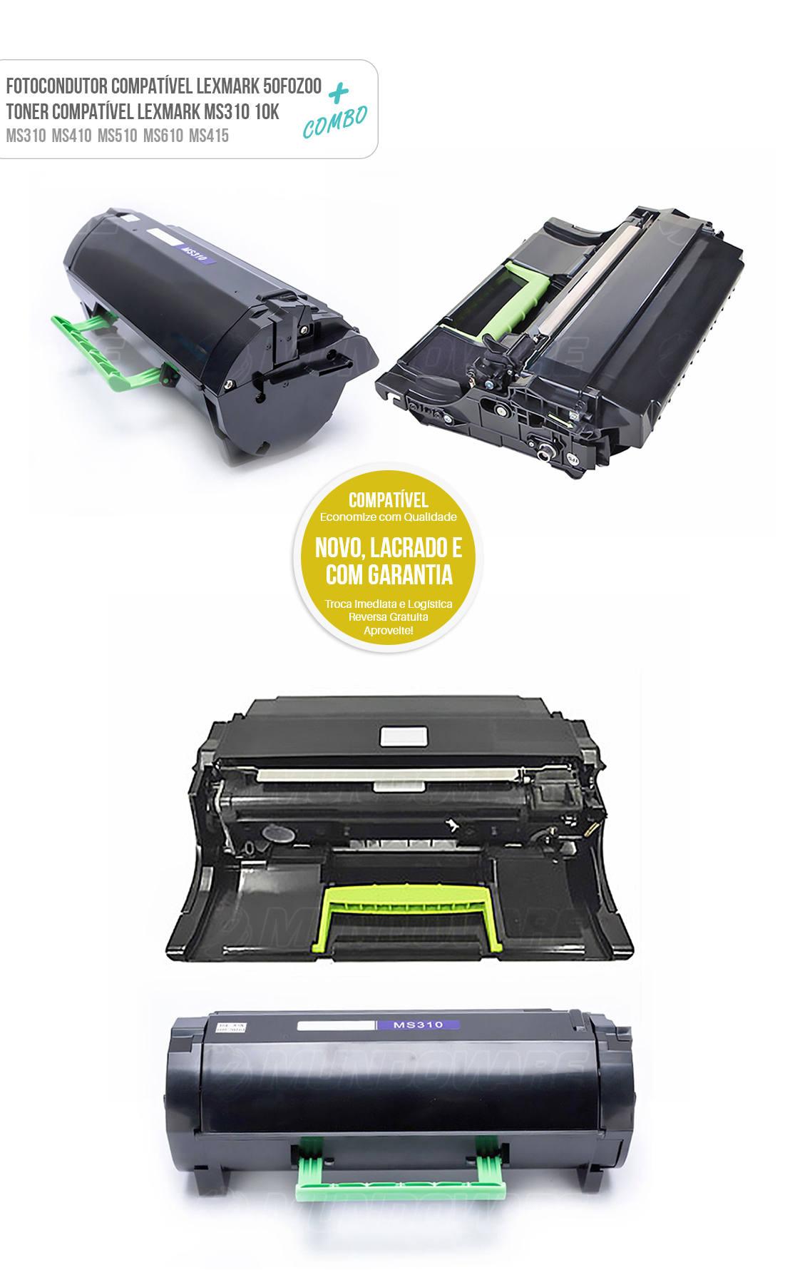Cartucho de Cilindro + Toner Compatível para Lexmark MS310 MS310D MS310DN MS312 MS312DN MS315 MS315DN MS410 MS410DN MS410D MS415 MS415DN MS510 MS510DN MS610 MS610DN MS610DE MS610DTE Tonner