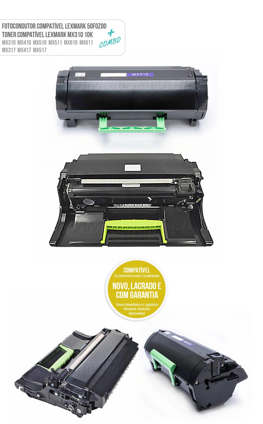 Cartucho de Cilindro + Toner Compatível para Lexmark MX310 MX410 MX511 MX611 MX310DN MX410DE MX511DE MX511DHE MX611DE MX611DHE MX611DFE Tonner