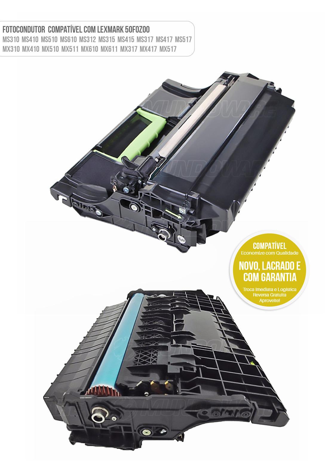 Cartucho de Cilindro Fotocondutor Compatível para impressora Lexmark MS310 MS410 MS510 MS610 MS312 MS315 MS415 MS317 MS417 MS517 MX310 MX410 MX510 MX511 MX610 MX611 MX317 MX417 MX517 60K