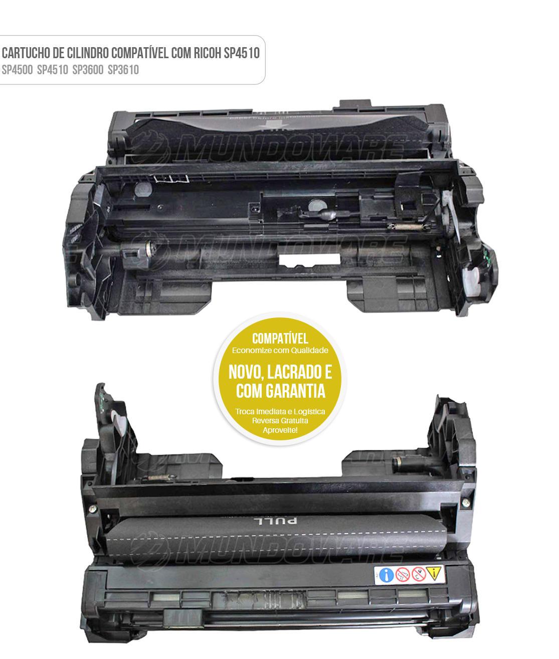 Cartucho de Cilindro Fotocondutor Compatível para Impressora Ricoh SP4510DN SP4510SF SP3600DN SP3600SF SP3610SF SP4510SFT