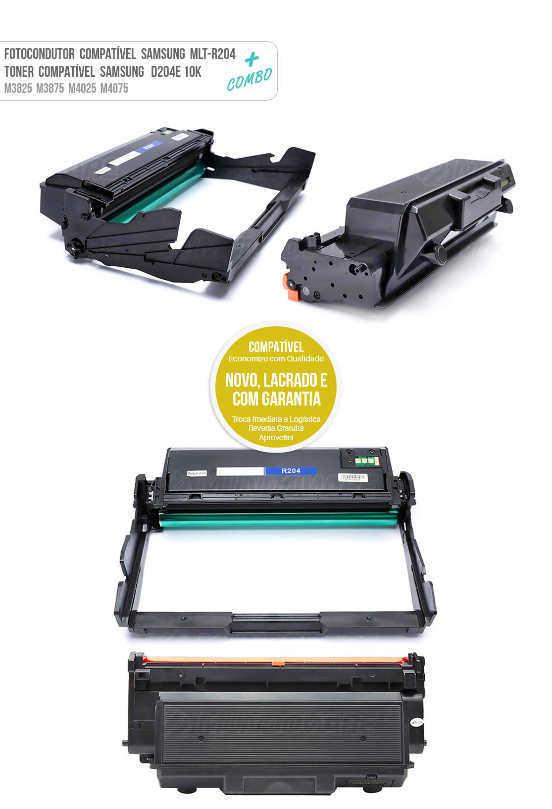 Cartucho de Cilindro Samsung DR204 R204 + Toner D204E para M 3825DW M 3825ND M 4025ND M 3875FW M 3875FD M 4075FW tonner