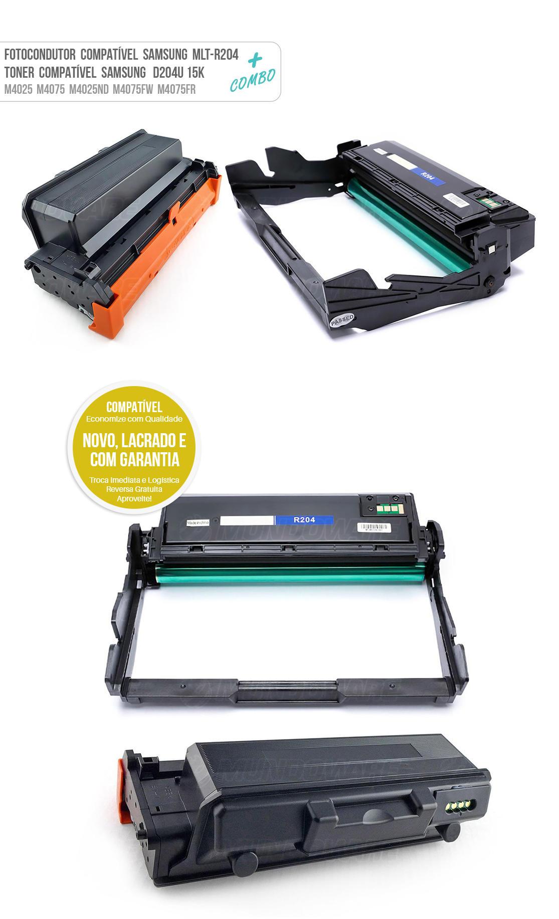 Unidade Cilindro Samsung DR204 R204 + Toner D204U para M4025ND M4075FW M4075FR M4025 M4075 M 4025ND M 4075FW M 4075FR M 4025 M 4075 Tonner