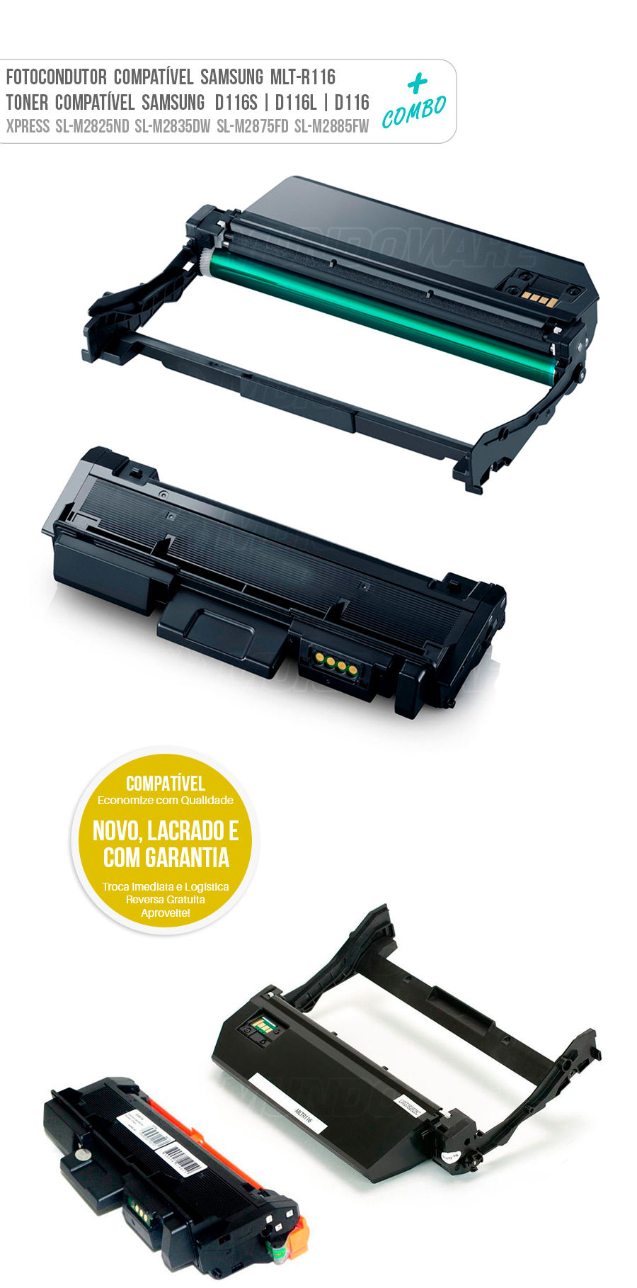 Drum Fotocondutor Tambor de Imagem Unidade Cilindro Kit DR e Toner Tonner Cartucho R116 D116