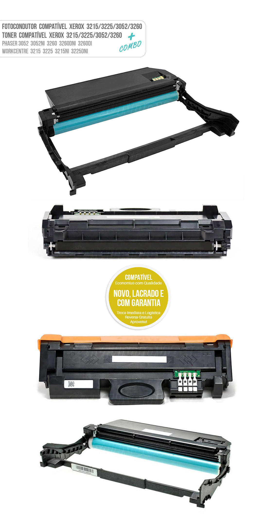 Cartucho de Cilindro + Toner Compatível para Xerox 3052 3260 3215 3225 3052NI 3260DNI 3260DI 3215NI 3225DNI
