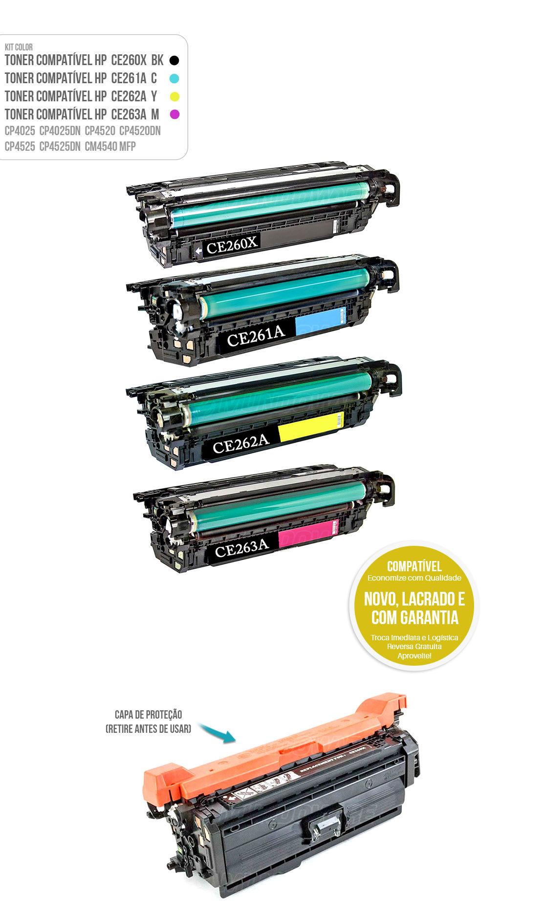 Kit 4 Cores de Toner Compatível com CE260 X CE261 CE262 CE263 A  para impressora HP CP4025 CP4520 CM4540 CP4525DN 4025DN 4520DN