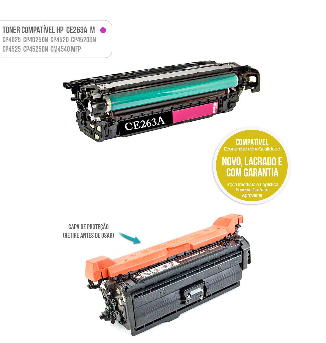 Toner Compatível Magenta CE263A CE-263 A para impressora Laser Color HP CP4025 CP4520 CM4540 CP4525DN 4025DN 4520DN