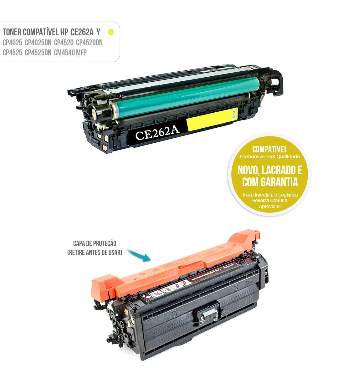 Toner Compatível Yellow CE262A CE-262 A para impressora Laser Color HP CP4025 CP4520 CM4540 CP4525DN 4025DN 4520DN