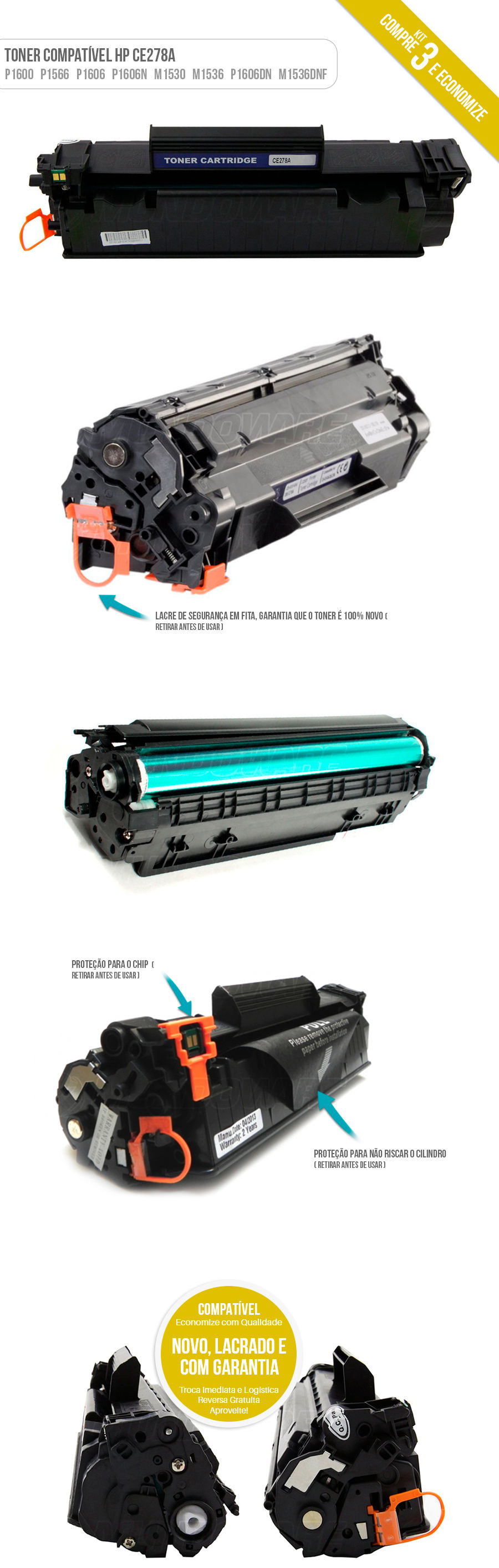 P1600 P1606 P1566 P1560 M1536 M1530 tonner hp compativel