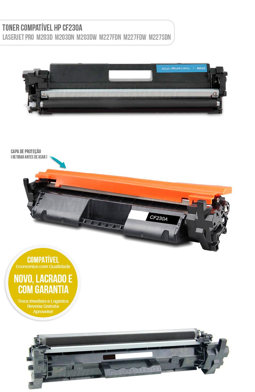 Toner Compativel CF230A 230A para HP Laserjet Pro M203 M203D M203DN M203DW M227 MFP M227FDN MFP M227FDW MFP M227SDN MFP