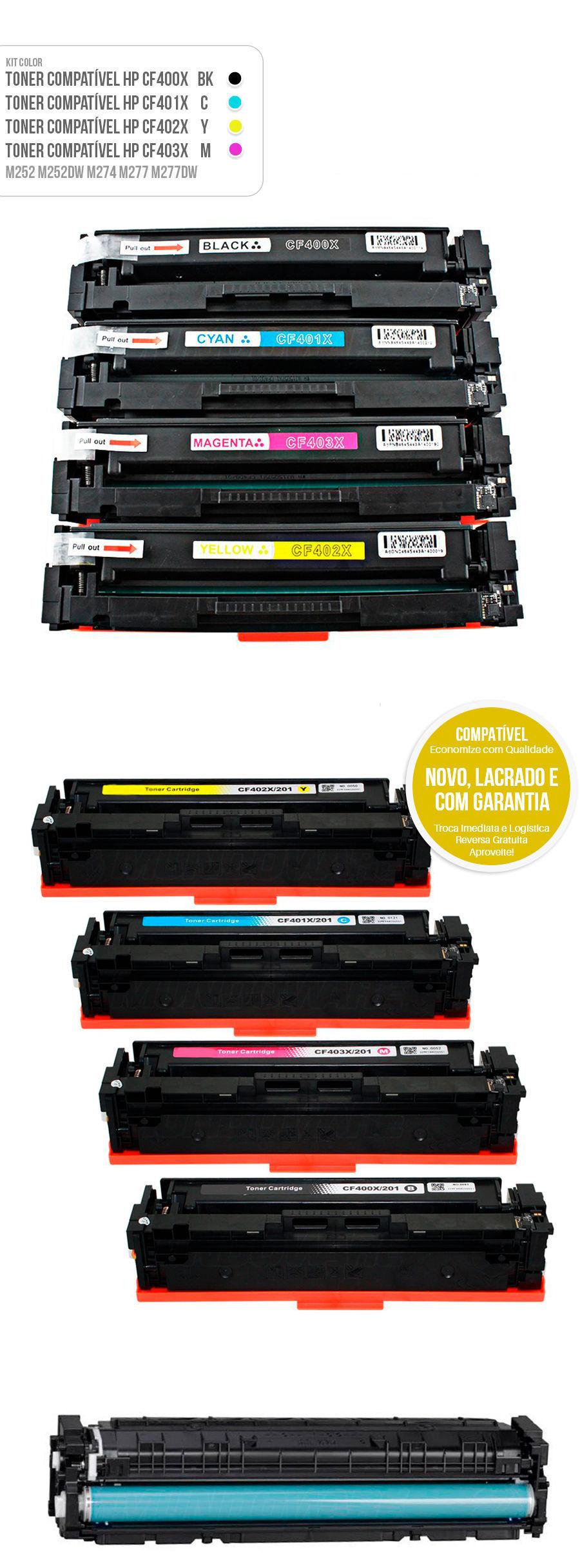 Kit colorido M252 M252DW M274 M277 M277DW Tonner HP 201X